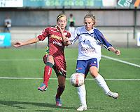 Dames Zulte Waregem - KSK Heist : duel tussen Sheila Broos (rechts) en Sheryl Merchiers (links)<br /> foto VDB / Bart Vandenbroucke