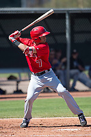 Los Angeles Angels third baseman Leonardo Rivas (7) during a Minor League Spring Training game against the Colorado Rockies at Tempe Diablo Stadium Complex on March 18, 2018 in Tempe, Arizona. (Zachary Lucy/Four Seam Images)