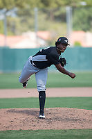 Chicago White Sox starting pitcher Brayan Herrera (32) follows through on his delivery during an Instructional League game against the Oakland Athletics at Lew Wolff Training Complex on October 5, 2018 in Mesa, Arizona. (Zachary Lucy/Four Seam Images)