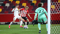 Mads Bidstrup of Brentford tries to weave his way into the Rotherham penalty area during Brentford vs Rotherham United, Sky Bet EFL Championship Football at the Brentford Community Stadium on 27th April 2021