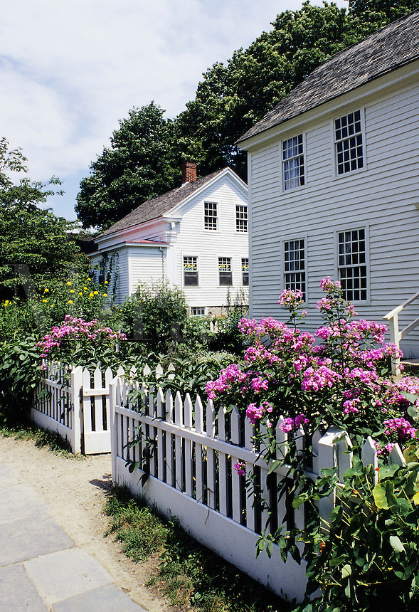 Mystic, Connecticut.Two historic houses. In foreground is the 1768 Buckingham house