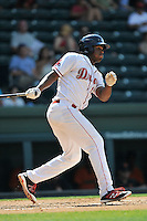 First baseman Josh Ockimey (18) of the Greenville Drive bats in a game against the Augusta GreenJackets on Sunday, June 12, 2016, at Fluor Field at the West End in Greenville, South Carolina. Greenville won, 11-8. (Tom Priddy/Four Seam Images)