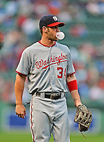 8 June 2012: Washington Nationals outfielder Bryce Harper brows a bubble prior to a game against the Boston Red Sox at Fenway Park in Boston, MA. The Nationals defeated the Red Sox 7-4 in the opening game of their 3-game series. Mandatory Credit: Ed Wolfstein Photo