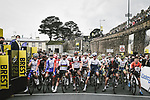 Riders line up for the start of Stage 1 of the 2021 Tour de France, running 197.8km from Brest to Landerneau, France. 26th June 2021.  <br /> Picture: A.S.O./Pauline Ballet | Cyclefile<br /> <br /> All photos usage must carry mandatory copyright credit (© Cyclefile | A.S.O./Pauline Ballet)