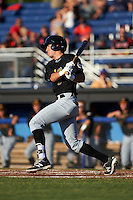 West Virginia Black Bears shortstop Kevin Mahala (5) at bat during a game against the Batavia Muckdogs on June 29, 2016 at Dwyer Stadium in Batavia, New York.  West Virginia defeated Batavia 9-4.  (Mike Janes/Four Seam Images)