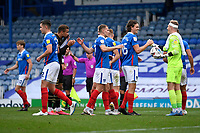 Portsmouth players celebrate their win at the final whistle during Portsmouth vs MK Dons, Sky Bet EFL League 1 Football at Fratton Park on 10th October 2020