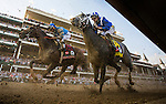 LOUISVILLE, KY - MAY 07: Mohaymen #14  with Junior Alvarado and Brody's Cause #19, Luis Saez race into the first turn of the Kentucky Derby at Churchill Downs on May 07, 2016 in Louisville, Kentucky.(Photo by Alex Evers/Eclipse Sportswire/Getty Images)