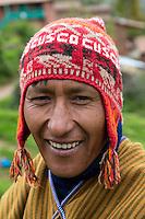 Peru, Urubamba Valley, Quechua Village of Misminay.  Man Smiling.