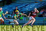 Dougie Fitzell, Kilmoyley in action against Tommy Casey, Causeway during the Kerry County Senior Hurling Championship Final match between Kilmoyley and Causeway at Austin Stack Park in Tralee