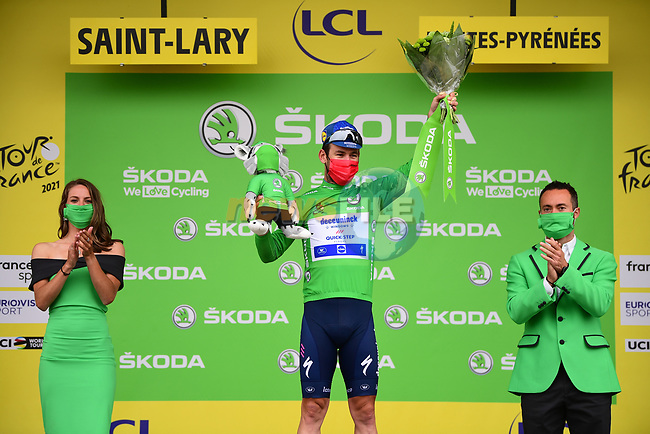 Mark Cavendish (GBR) Deceuninck-Quick Step retains the points Green Jersey at the end of Stage 17 of the 2021 Tour de France, running 178.4km from Muret to Saint-Lary-Soulan Col du Portet, France. 14th July 2021.  <br /> Picture: A.S.O./Pauline Ballet | Cyclefile<br /> <br /> All photos usage must carry mandatory copyright credit (© Cyclefile | A.S.O./Pauline Ballet)