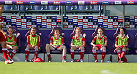Rosalia Marine (2) of Standard, Yuna Appermont (6) of Standard, Sanne Schoenmakers (8) of Standard, Lotte Jansen (4) of Standard , Charlotte Catinus (18) of Standard, Pam Amorij (19) of Standard  pictured on the bench during a female soccer game between RSC Anderlecht Dames and Standard Femina de Liege on the sixth matchday of the 2021 - 2022 season of Belgian Womens Super League , Saturday 9 th of October 2021  in Brussels , Belgium . PHOTO SPORTPIX   SEVIL OKTEM