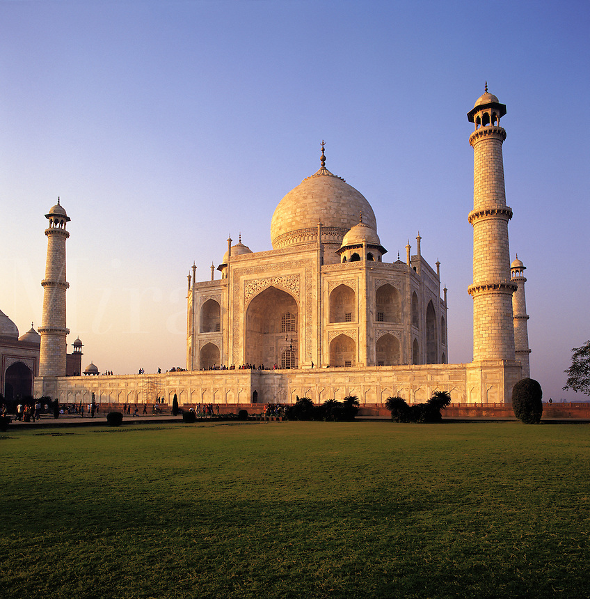Low-angle view of the Taj Mahal in soft, beautiful evening light; Agra, Indi