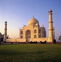 Low-angle view of the Taj Mahal in soft, beautiful evening light; Agra, Indi