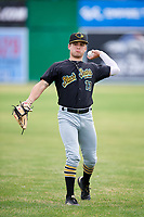 West Virginia Black Bears outfielder Travis Swaggerty (13) throws in the outfield during warmups before a game against the Batavia Muckdogs on June 19, 2018 at Dwyer Stadium in Batavia, New York.  West Virginia defeated Batavia 7-6.  (Mike Janes/Four Seam Images)