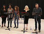 "Amma Osei, Amber Iman, Allison Semmes, Megan Hilty and Josh Radnor In Rehearsal with the Kennedy Center production of ""Little Shop of Horrors"" on October 11 2018 at Ballet Hispanica in New York City."
