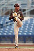 San Diego Padres pitcher Brayan Medina (78) during an extended spring training game against the Kansas City Royals on June 14, 2021 at Peoria Sports Complex in Peoria, Arizona.  (Freek Bouw/Four Seam Images)