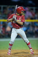 Edmundo Sosa (19) of the Johnson City Cardinals at bat against the Burlington Royals at Burlington Athletic Park on August 22, 2015 in Burlington, North Carolina.  The Cardinals defeated the Royals 9-3. (Brian Westerholt/Four Seam Images)