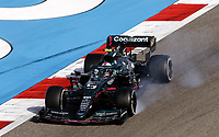 27th March 2021; Sakhir, Bahrain; F1 Grand Prix of Bahrain, Qualifying sessions;  05 VETTEL Sebastian (ger), Aston Martin F1 AMR21 locks up during Formula 1 Gulf Air Bahrain Grand Prix 2021 qualifying