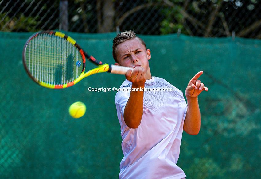 Hilversum, Netherlands, Juli 29, 2019, Tulip Tennis center, National Junior Tennis Championships 12 and 14 years, NJK, Kyvan Rietkerk (NED)<br /> Photo: Tennisimages/Henk Koster