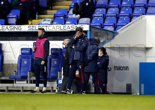 4th November 2020; Madejski Stadium, Reading, Berkshire, England; English Football League Championship Football, Reading versus Preston North End; Reading Manager Veljko Paunovic looking disappointed on the touchline