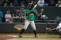 Yonny Hernandez (4) of the Down East Wood Ducks at bat against the Winston-Salem Dash at BB&T Ballpark on May 10, 2019 in Winston-Salem, North Carolina. The Wood Ducks defeated the Dash 9-2. (Brian Westerholt/Four Seam Images)