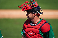 Boston Red Sox catcher Kevin Plawecki (25) during a Major League Spring Training game against the Minnesota Twins on March 17, 2021 at JetBlue Park in Fort Myers, Florida.  (Mike Janes/Four Seam Images)