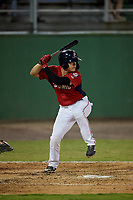 Potomac Nationals KJ Harrison (12) at bat during a Carolina League game against the Myrtle Beach Pelicans on August 14, 2019 at Northwest Federal Field at Pfitzner Stadium in Woodbridge, Virginia.  Potomac defeated Myrtle Beach 7-0.  (Mike Janes/Four Seam Images)