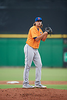St. Lucie Mets starting pitcher David Peterson (26) gets ready to deliver a pitch during a game against the Clearwater Threshers on August 11, 2018 at Spectrum Field in Clearwater, Florida.  St. Lucie defeated Clearwater 11-0.  (Mike Janes/Four Seam Images)