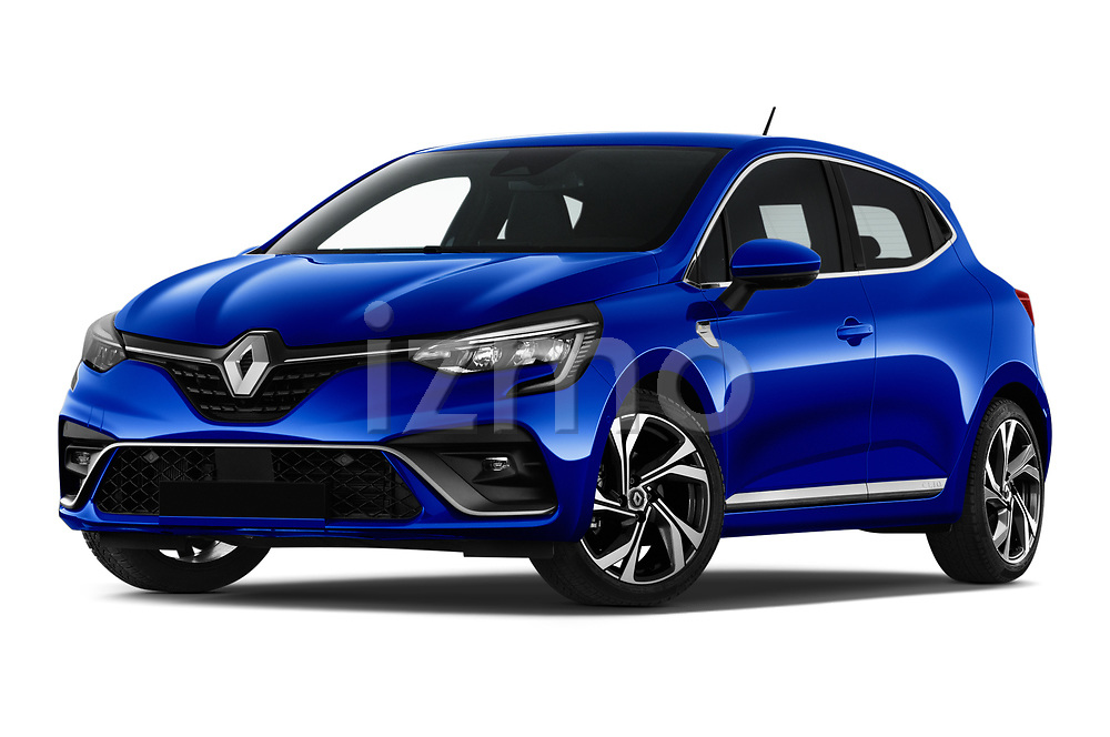 Stock pictures of low aggressive front three quarter view of 2020 Renault Clio-e-Tech RS-Line 5 Door Hatchback Low Aggressive
