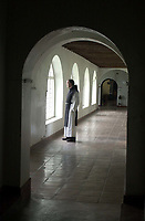 Pictured: Brother David in the Cloisters of the Abbey. STOCK PICTURE<br /> Re: Dyfed-Powys Police has received reports of historical sexual abuse perpetrated by a monk on Caldey Island in the 1970s and 1980s.<br /> The force investigated in 2014 and 2016 but could not prosecute as the monk, Father Thaddeus Kotik, died in 1992.<br /> The Guardian newspaper has reported that Caldey Abbey has paid compensation to six women who were abused as children.