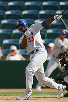 April 27 2008:  Chris Carter of the Stockton Ports bats against the Rancho Cucamonga Quakes at The Epicenter in Rancho Cucamonga,CA.  Photo by Larry Goren/Four Seam Images