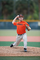 Nate Arnold (65), from Lincoln, Illinois, while playing for the Orioles during the Baseball Factory Pirate City Christmas Camp & Tournament on December 29, 2017 at Pirate City in Bradenton, Florida.  (Mike Janes/Four Seam Images)