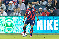 KANSAS CITY, KS - JULY 11: Sebastian Lletget #17 of the United States passes the ball during a game between Haiti and USMNT at Children's Mercy Park on July 11, 2021 in Kansas City, Kansas.