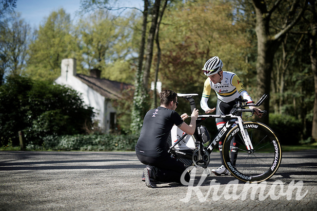 Jack Bobridge (AUS/Trek-Segafredo) adjusting his saddle hight slightly at the pre-Giro TT-training ride with Team Trek-Segafredo in Gelderland (The Netherlands)<br /> <br /> 99th Giro d'Italia 2016