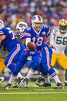 14 December 2014: Buffalo Bills quarterback Kyle Orton sets to make a handoff in the third quarter against the Green Bay Packers at Ralph Wilson Stadium in Orchard Park, NY. The Bills defeated the Packers 21-13, snapping the Packers' 5-game winning streak and keeping the Bills' 2014 playoff hopes alive. Mandatory Credit: Ed Wolfstein Photo *** RAW (NEF) Image File Available ***