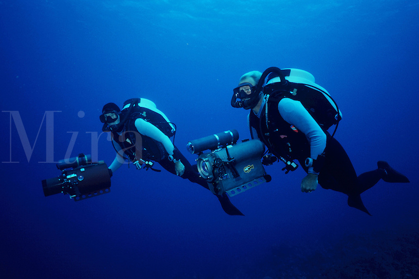 Cameramen use the latest in high-tech, mixed-gas rebreather technology to film marine wildlife, Caribbean, Atlantic Ocean