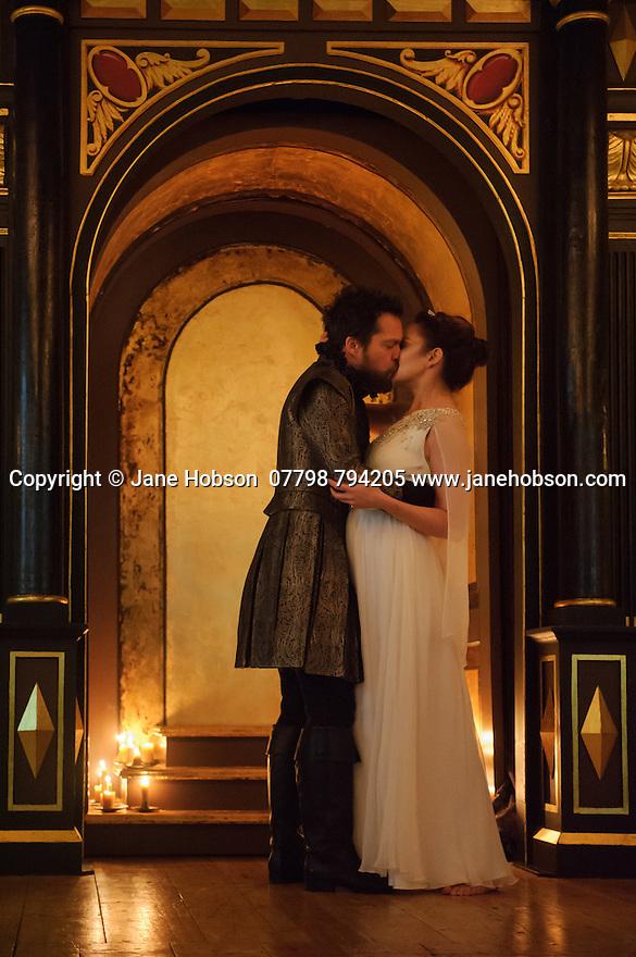 London, UK. 03.02.2016. Shakespeare's Globe presents THE WINTER'S TALE, by William Shakespeare, in the Sam Wanamaker Playhouse. Picture shows: Niamh Cusack (Paulina), John Light (Antigonus). Photograph © Jane Hobson.