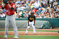 Michael Bourn (1) of the Salt Lake Bees takes a lead from first base against the Albuquerque Isotopes in Pacific Coast League action at Smith's Ballpark on June 10, 2017 in Salt Lake City, Utah. The Isotopes defeated the Bees 4-2. (Stephen Smith/Four Seam Images)