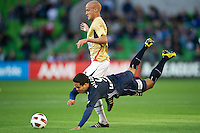 MELBOURNE, AUSTRALIA - DECEMBER 27: Ricardinho of the Victory and Ruben Zadkovich of the Jets contest the ball during the round 20 A-League match between the Melbourne Victory and the Newcastle Jets at AAMI Park on December 27, 2010 in Melbourne, Australia. (Photo by Sydney Low / Asterisk Images)