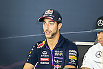 DANIEL RICCIARDO (03) driver of the Infiniti Red Bull Racing Renault car attends a press conference before the Formula 1 United States Grand Prix race at the Circuit of the Americas race track in Austin,Texas.