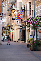 shopping street flags r carnot beaune cote de beaune burgundy france