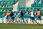 Hibs v St Johnstone…01.05.21  Easter Road. SPFL<br />Jason Kerr pictured during the warm up with Jamie McCart, Michael O'Halloran, Chris Kane, Ali McCann and Callum Booth<br />Picture by Graeme Hart.<br />Copyright Perthshire Picture Agency<br />Tel: 01738 623350  Mobile: 07990 594431