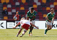 24th April 2021; Brentford Community Stadium, London, England; Gallagher Premiership Rugby, London Irish versus Harlequins; Albert Tuisue of London Irish tackled by Jack Kenningham of Harlequins