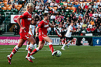 Brittany Bock (21) of the Western New York Flash dribbles the ball during the first half.  The Western New York Flash defeated the magicJack 3-0 in Women's Professional Soccer (WPS) at Sahlen's Stadium in Rochester, NY May 22, 2011.