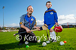 Coach David Lucid with Cian Canty at Tralee Parnells juvenile training on Friday.