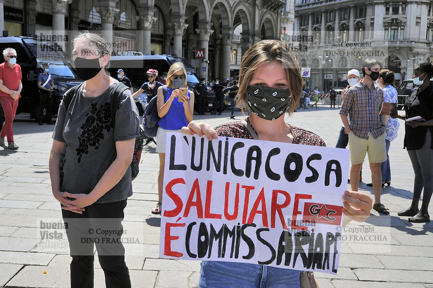 - Milano, Giugno 2020, manifestazione dei partiti di centro-sinistra, sindacati, associazione Medicina Democratica e molte altre organizzazioni in protesta contro la disastrosa gestione dell'emergenza Coronavirus da parte della Regione Lombardia, per chiedere il commissariamento della Sanità Pubblica e le dimissioni del governatore Attilio Fontana e dell'assessore Giulio Gallera.<br />