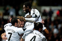 Saturday 2nd Febuaray 2014<br /> Pictured: Nathan Dyer Celebrates with team mates after scoring his second half goal<br /> Re: Barclays Premier League Swansea City FC  v Cardiff City FC at the Liberty Stadium, Swansea
