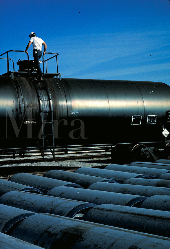 Train car with tanks containing chlorine at chemical plant. Wichita Kansas, Vulcan Chemical Plant.