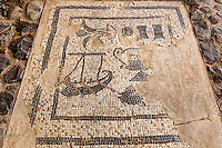 Issrael , Galilea,Mosaic found in Migdal ,named Migdal Nunia, an ancient anchorage and fishing boat
