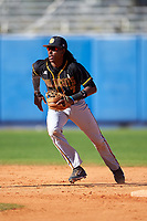 Bethune-Cookman Wildcats shortstop Demetrius Sims (7) during a game against the Wisconsin-Milwaukee Panthers on February 26, 2016 at Chain of Lakes Stadium in Winter Haven, Florida.  Wisconsin-Milwaukee defeated Bethune-Cookman 11-0.  (Mike Janes/Four Seam Images)